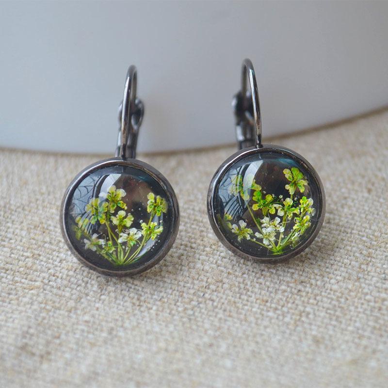 Vert Babysbreath réel Fleur Noir Cuivre Boucles d'oreilles pour les femmes Boho bijoux à la mode bohème 2019 mignon Diy main mignon