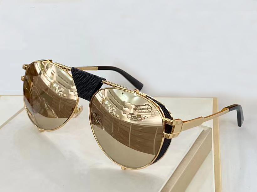 Lunettes de soleil hommes Pilot 0981 Gold Frame or miroité mode Lunettes de soleil Lunettes de soleil Nouveau avec la boîte
