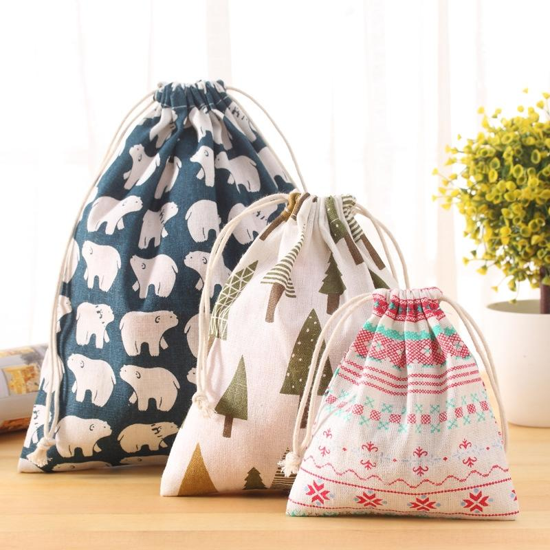 Art blue art blue pure cotton travel luggage storage bag bundle pocket zakka drawstring luggage bag cotton linen fabric home storage