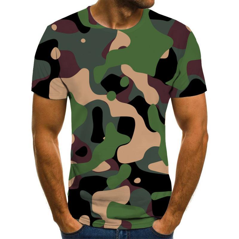 الرجال القمصان 2021 3d تي شيرت الصيف عارضة التمويه الملابس نمط أعلى سريع الجافة المطبوعة