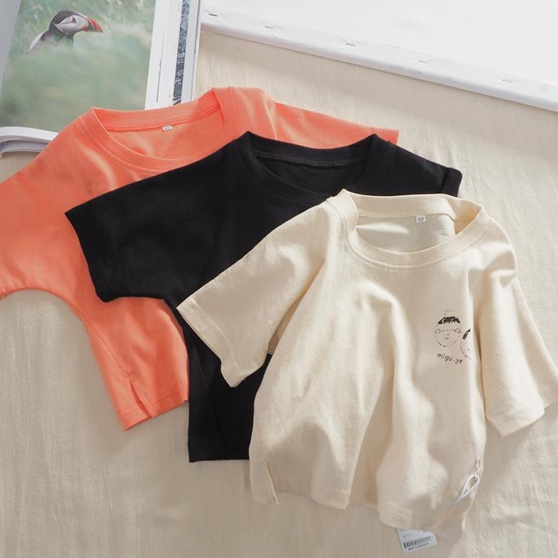 Tişört giyim Giyim erkek ve kız kısa kollu tişört çocuk bebek gevşek gündelik pamuk üst çocuk yaz moda