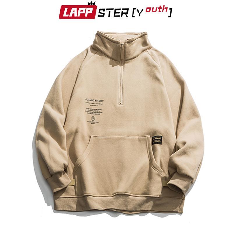 Gli uomini in pile LAPPSTER-Gioventù Pocket Harajuku cappuccio 2020 Mens oversize Streetwear Felpe con cappuccio coreano Hip Hop vestiti neri CX200723