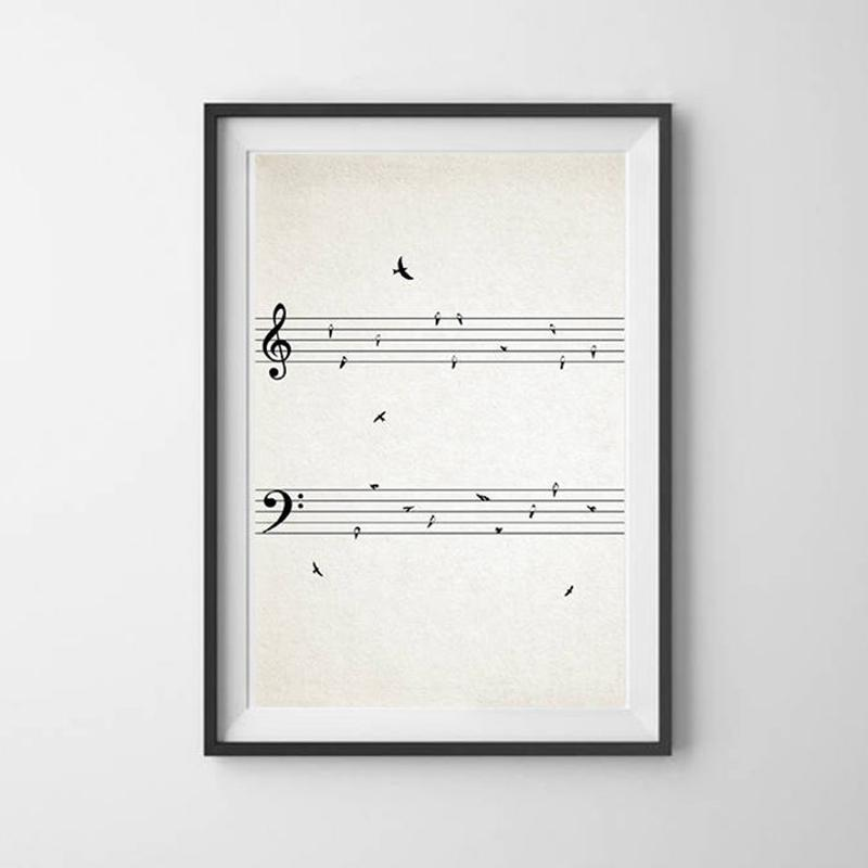 Canvas Pictures Home Decor HD Prints Sheet Music with Birds Vintage Painting Wall Art Nordic Creative Poster Modular Living Room