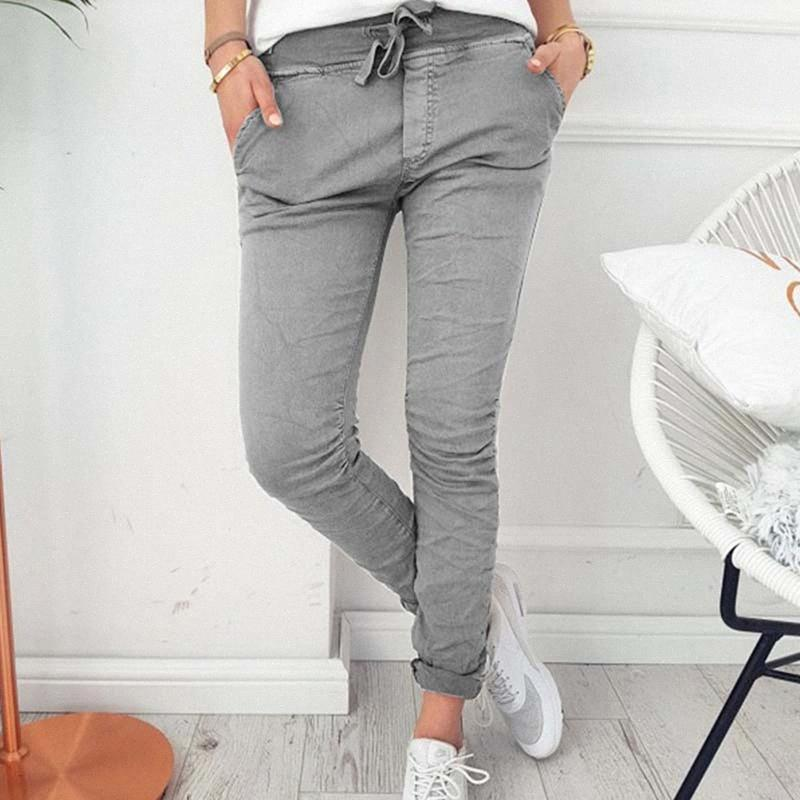 2020 2020 Fashion Spring Autumn Skinny Women Pencil Pants Pocket Elastic Waist Trousers Casual Slim Women Pants Drawstring NZMA#