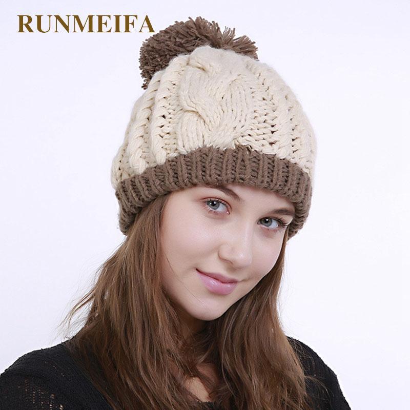 RUNMEIFA 2020 Новый Kintted Повседневная Женщины Шляпы с Pompom Зима теплая Skullies Hat Женский Вводная Femme Beanie Cap Lady Caps
