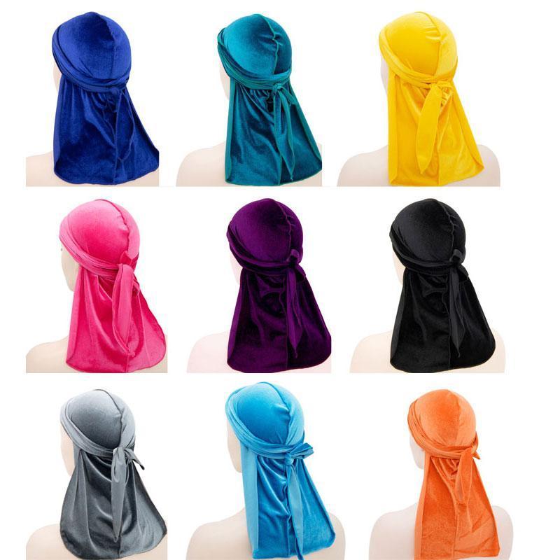 حار بيع 17 الألوان جديد للجنسين المخملية باندانا العمامة قبعة الهيب هوب الرجال أغطية الرأس العصابة القراصنة قبعات