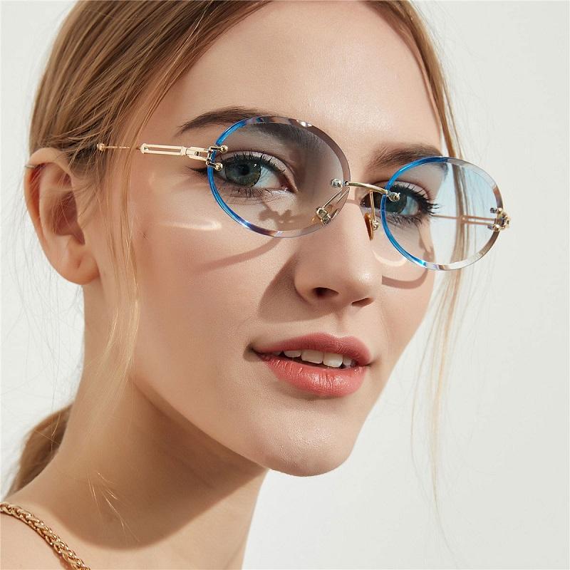 Износ Огранка ретро Овальные Градиентные солнцезащитные очки Кристалл Texture очки без оправы Солнцезащитные очки Мода глаз