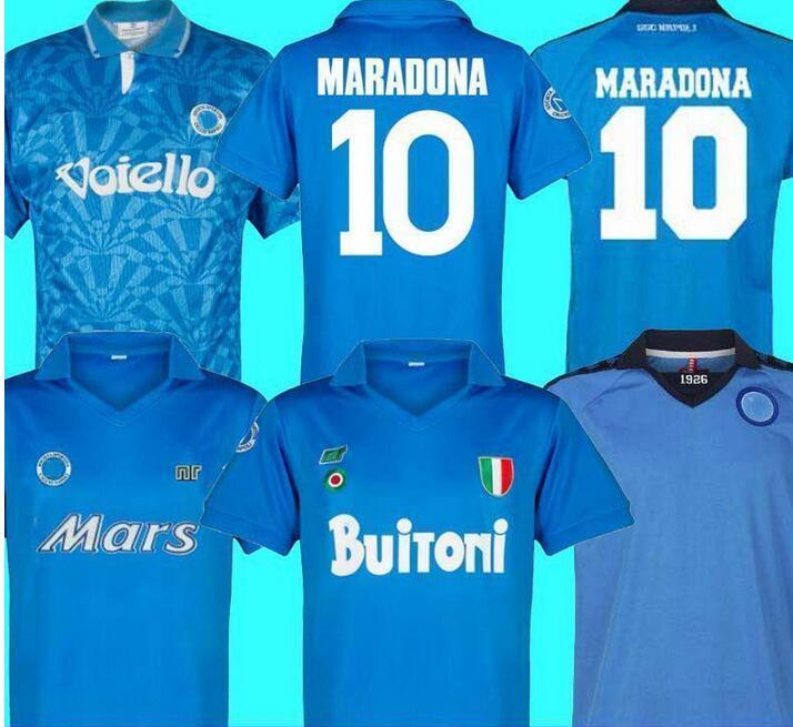 88 88 Retro Napoli Soccer Jersey Classic Shirts Maradona 1987 1988 Napoles Maillots Giordan Magica 1926 Napoli Retro Football Shirt