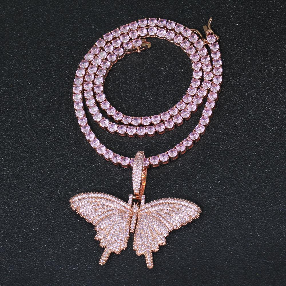 ارتفع الذهب الوردي فراشة المعلقات المرأة قلادة الرجال الهيب هوب حزب قلادة المجوهرات هدية CN165B