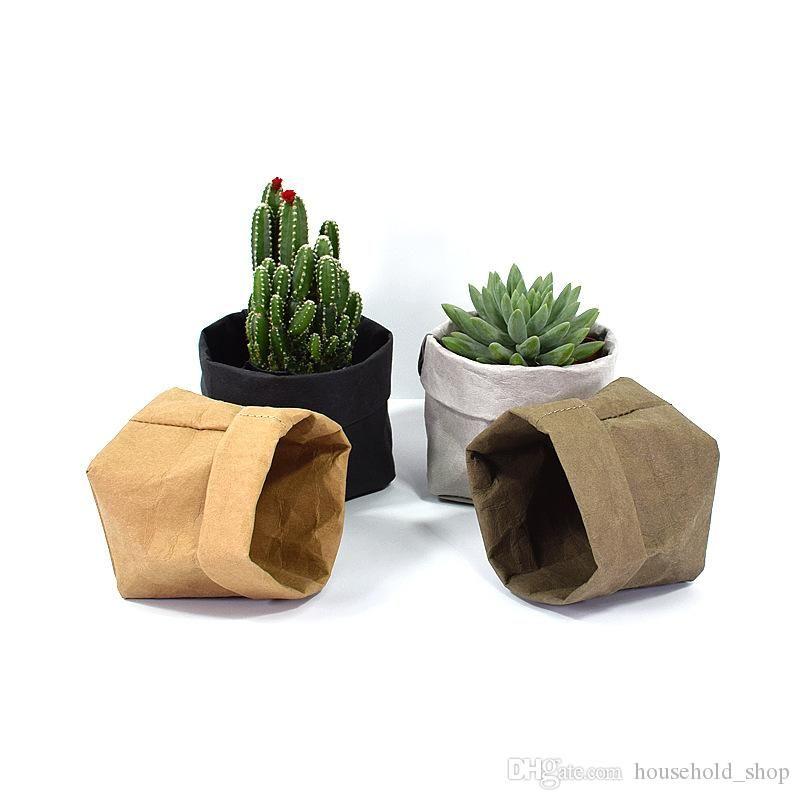 Складные горшки Крафт бумаги Цветочный горшок водонепроницаемый 4 цвета защиты окружающей среды Planters Storage Bag Mini садовый овощной чехол