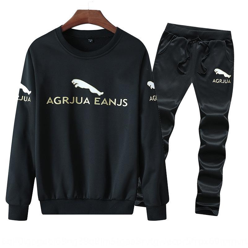 Autunno nuovo vestito di sport degli uomini Jaguar spazzolato stampato maglione lungo maglia a manica adolescente a tre pezzi