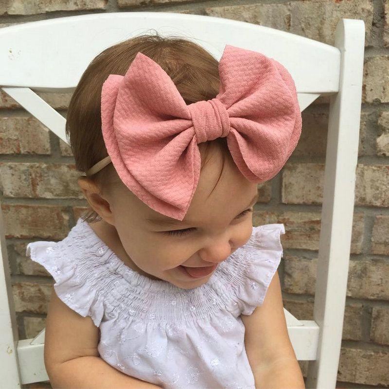 2020 New Arrival 6 Hair Bows Nylon Headbands Waffle Fabric Elastic Baby Headband Diy Girls Hair Accessories Headwear Hair Band FNDie