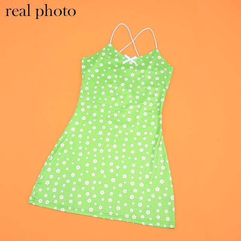 Повседневные платья Allneon E-Girl Sweet Green Floral Vintage Kawaii Y2K Летний Спагетти Ремешок Party Mini Платье Симпатичные Streetwear Chic Outfit