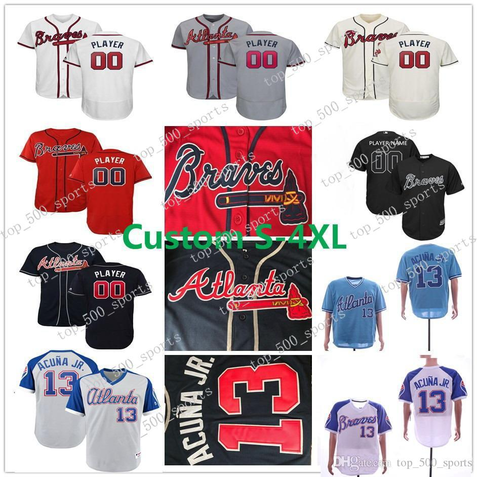 Mens Kid Lady Ronald Acuna Jr. Jersey Freddie Freeman Austin Riley Donaldson Atlanta Chipper Jones Ozzie Almies Swanson Youth Women