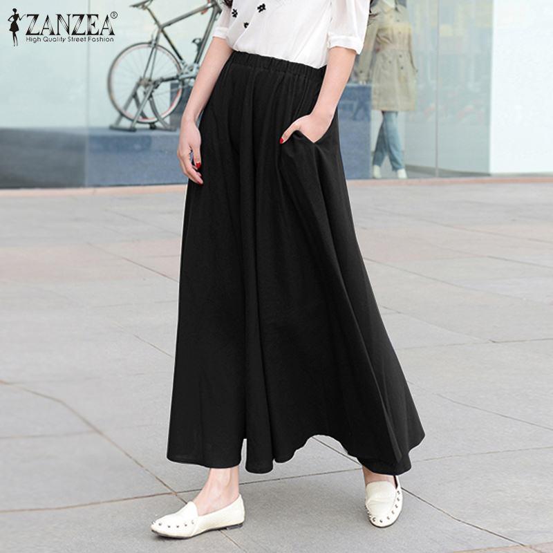 Женщины Летняя юбка ZANZEA 2020 Урожай эластичный пояс Хлопок Твердые Faldas Saia вскользь Карманы Long Vestidos Robe Femme Bottom 5XL