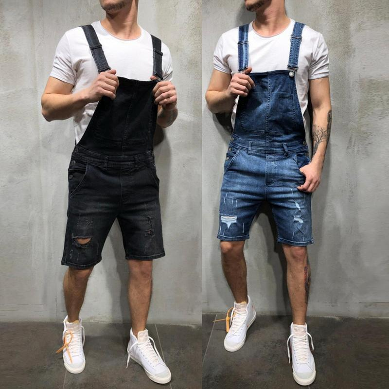 2019 New Fashion Men's Ripped Jeans Jumpsuits Shorts Summer Hi Street Distressed Denim Bib Overalls For Man Suspender Pants 0PaD#