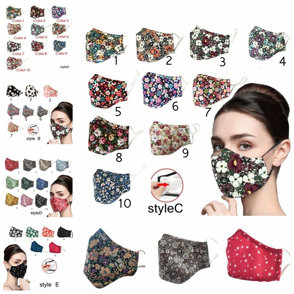Mix Styles adultes Imprimé Masque coton filtre anti-poussière lavable réglable respirant extérieur Anti-Smog Floral Visage Bouche Couverture LJJP185