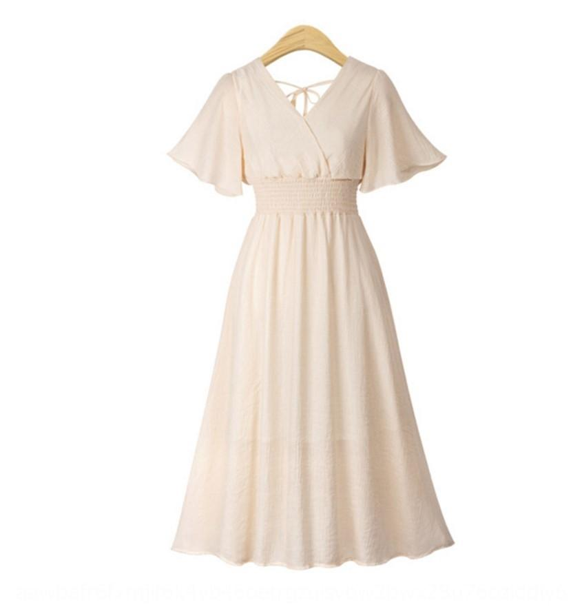 G1Bqe 2020 nova cor sólida V-neck vestido de chiffon de 2020 nova cor sólida mulheres de Verão mulheres de Verão saia longa saia V-neck chiffon dres longos