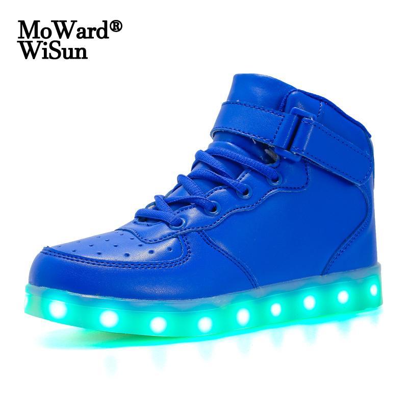 Tamaño 25-46 LED Calzado para las zapatillas de deporte de las mujeres de los hombres de cabritos con las luces luminoso Niños Zapatos tenis de las muchachas LED que brilla intensamente Zapatillas Feminino