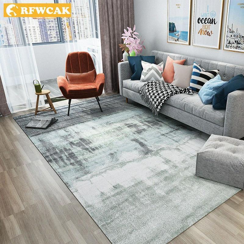 RFWCAK Nordic Abstrakt Tuschmalerei Teppich für Wohnzimmer Schlafzimmer Antirutsch großen Teppich Bodenmatte Küche Teppiche Vorleger zNOf #