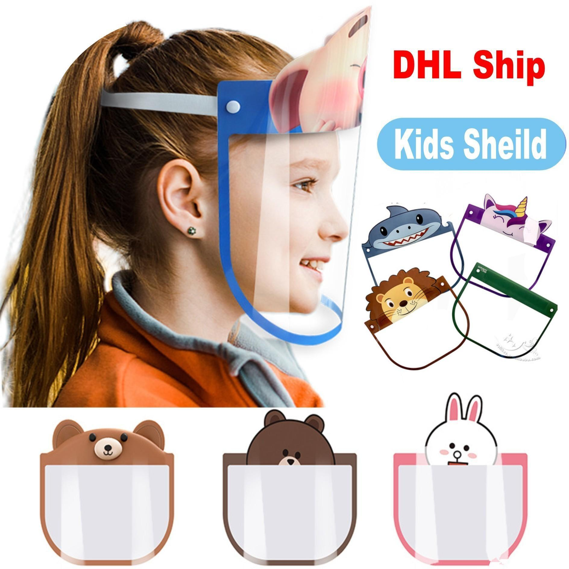 PET Kids Cartoon Face Shield With Glasses Safety Children Protective Mask Full Face Anti-Fog Isolation Splash-proof Cartoon Party Mask