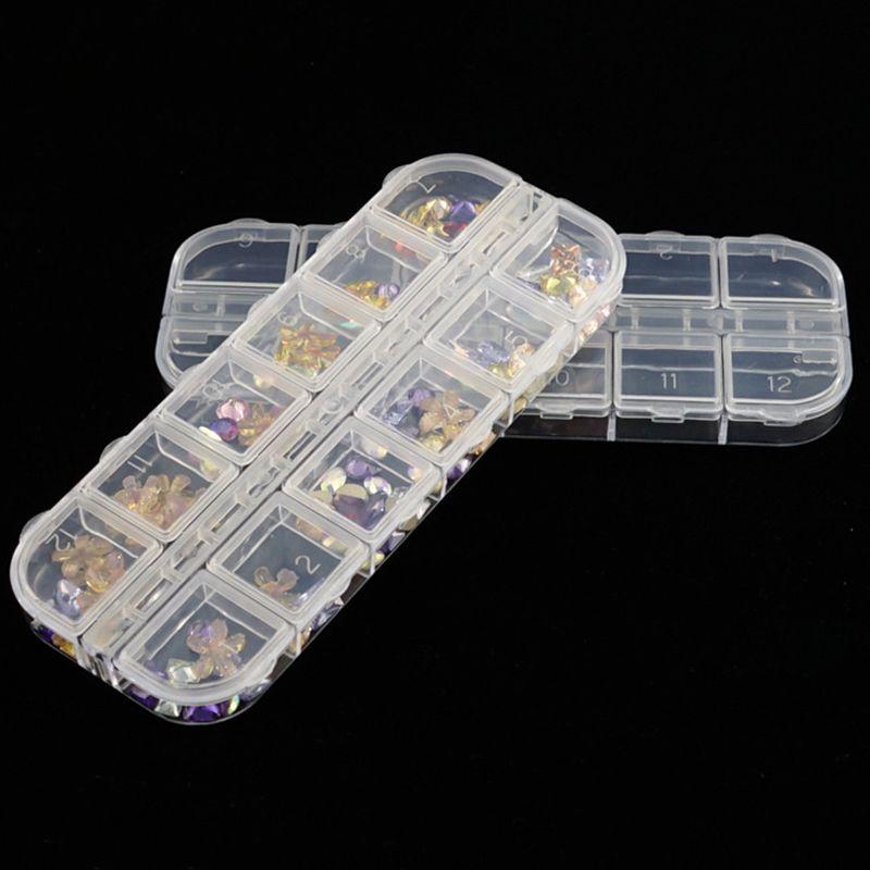 Nail Art Storage Box 12 Grids Compartment Plastic Sequins Cajas Vacias De Diamantes Organizer Jewelry Mini Diamond Empty Boxes