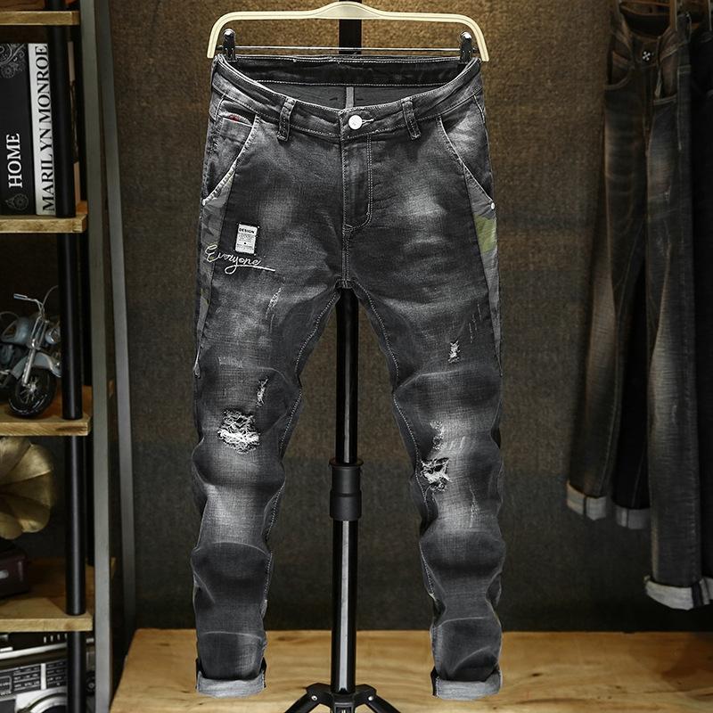0O0w7 2019 pantalones ajustados primavera vaqueros pantalones apretados estiramiento de la manera delgada vaqueros lavados polainas coreanas del estilo de los hombres de moda de costura Embroide