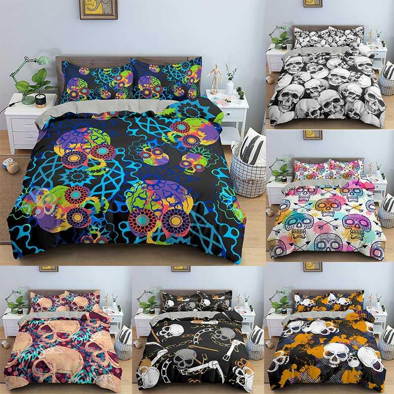 Fashion Home Textiles 3D Printed Duvet Cover Bedclothes 2/3PCS Skull Bedding Set Single Twin Double Full Queen King Size