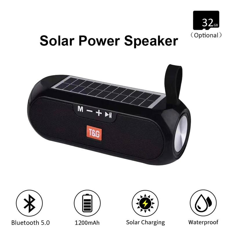 TG182 Solar Bluetooth Speaker Portable Column Wireless Stereo Music Box Power Bank Boombox TWS 5.0 Outdoor Support TF/USB/AUX