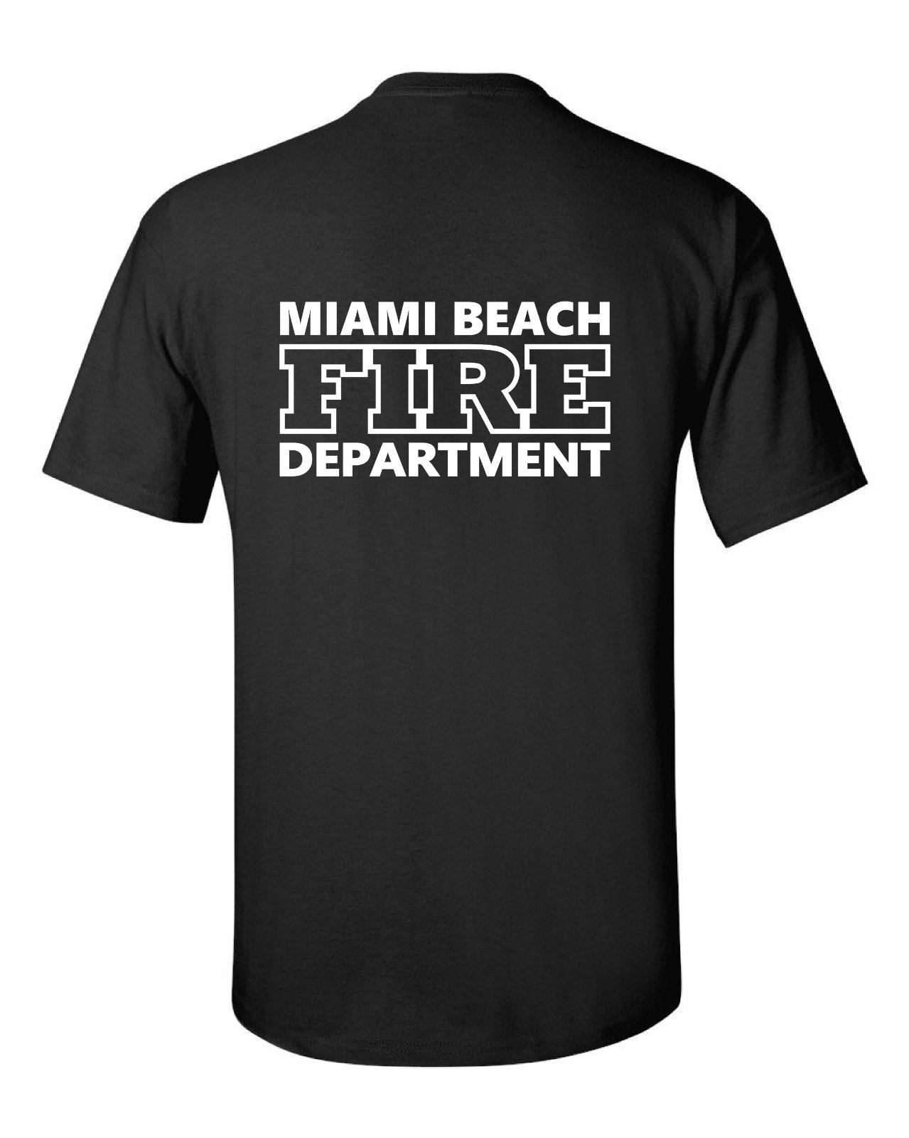 2019 Harajuku Hot Venda de Bombeiros Miami Beach T Shirt - Fire Rescue americano camiseta