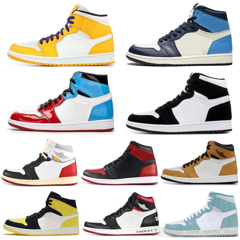 فاخر مصمم أحذية رجالية 1 الأحذية السامي ريترو التكبير 2020 رجل أحذية كرة السلة عالية  OG Air Jordan 1 Retro High Zoom Jumpman Man Designer Shoes Women Sneaker Basketball Shoes