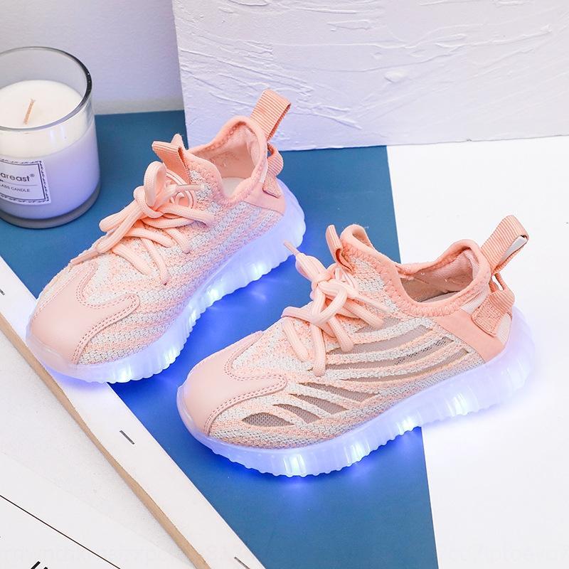 9maYZ Яркие детские 2020 новый корейский спорт детская обувь кроссовки USB зарядка дышащий летающий тканой сетки мальчиков и девочек спортивная s