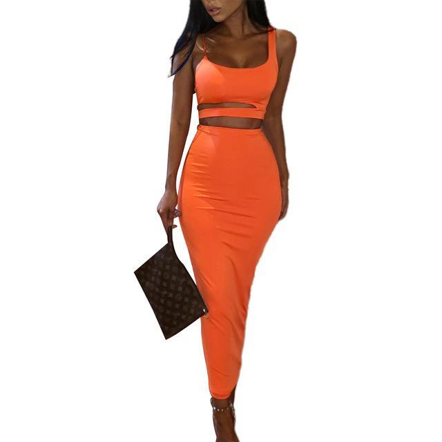 İki Adet Set Kadınlar Seksi Party Club Etek Şık Bandaj Crop Top Elbise Katı Renk Streetwear Bayanlar set set