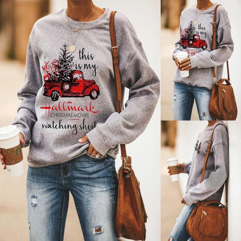 Al por mayor de ropa de mujeres boutique de las camisetas de manga larga Impreso de Navidad hoodies de las muchachas de invierno