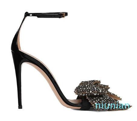 Sıcak satış-Kırmızı Siyah Patnet Deri Ayakkabı Kadın Bilek Kayışı Sandalias Rhinestone Çıkarılabilir Kristal Yay Sandalet Sapatos Mulher pompaları