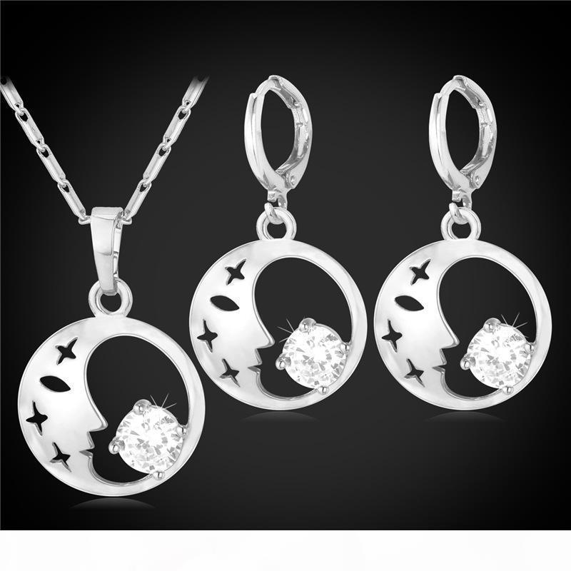 Femmes Real Beauté Goutte Visage Boucles d'oreilles platine plaqué or 18 carats collier pendentif Set Zircon Bijoux
