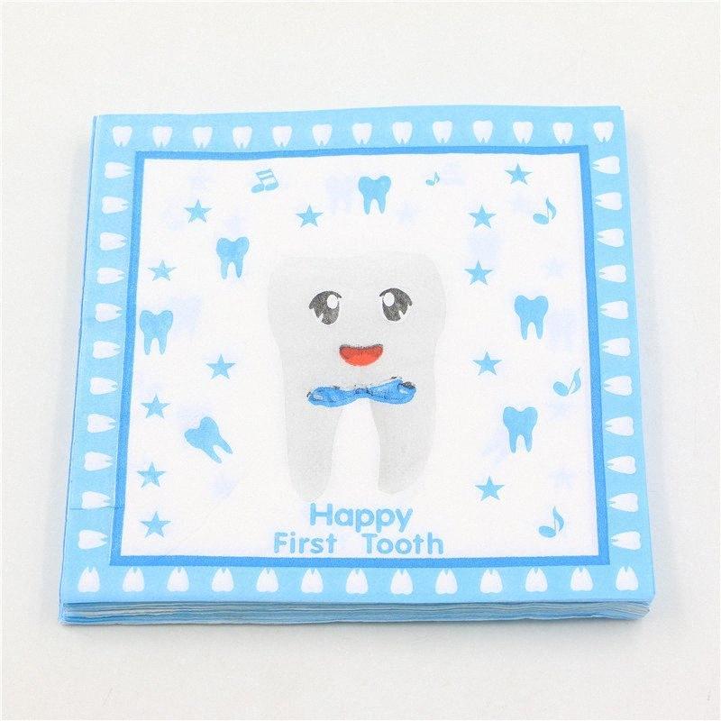 çeşit parti Oymacılık Festas Doku servilleta 33cm * 33cm 20pcs / paket Toptan-Mavi Mutlu İlk Diş Baskılı Kağıt Peçete Peçete / tSHm #
