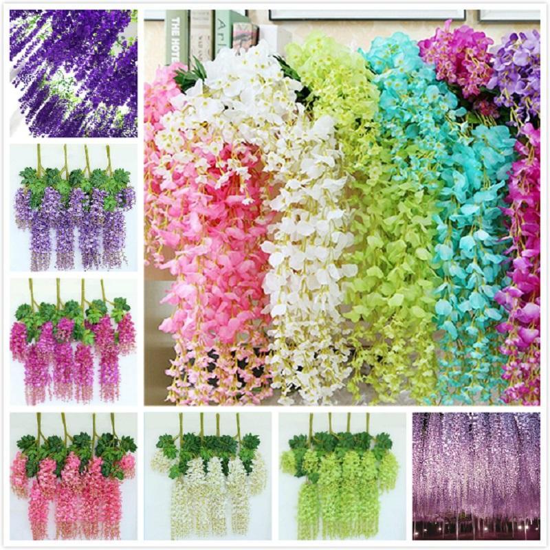110 cm Artificial Flowers Wisteria Fake Garden Hanging Flower Plant Vine Home Wedding Party Event Decor AHF514