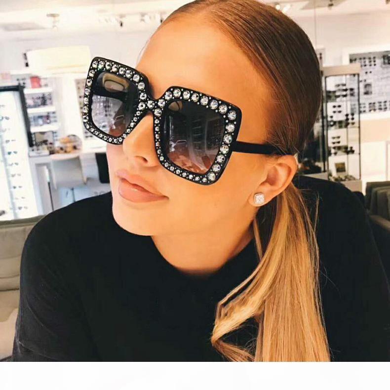 Gafas de sol de diseñador del Rhinestone de la nueva manera de las mujeres de gran tamaño cuadrados Nuevas gafas de sol de alta calidad retro Bling Gafas de sol