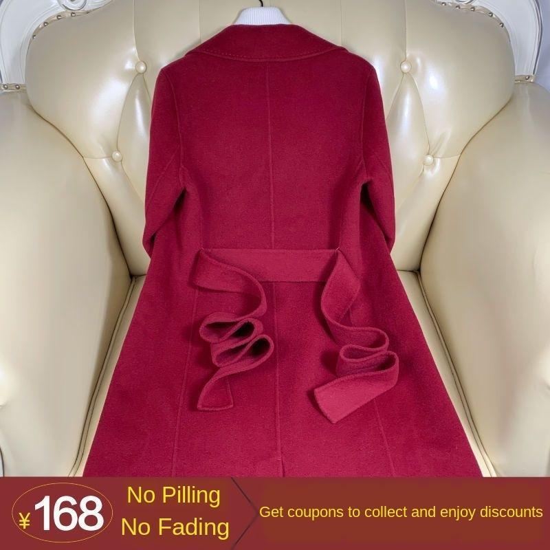 qgC0C jOfA5 High-end dupla face cashmere woolwool revestimento das mulheres 2019 outono e inverno estilo longa na altura do joelho Hepburn Nova lã coatseas lã
