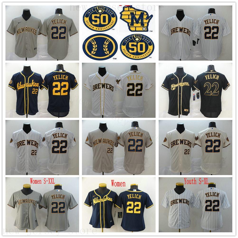 2020 Nuova stagione di baseball 50 ° 22 Christian Yelich maglie migliore qualità cucita Yelich Oro Bianco Nero Blu Grigio uomo Donne KID Jersey della gioventù