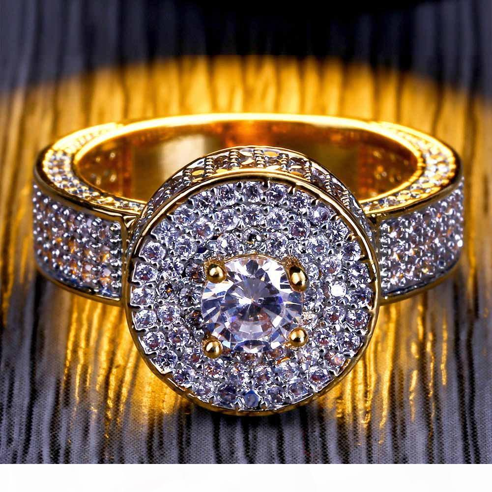 mens anillo de la joyería de hip hop de la vendimia rubí circón hacia fuera helado cobre del anillo de auténtico lujo 18k chapado en oro de joyería al por mayor de moda amante