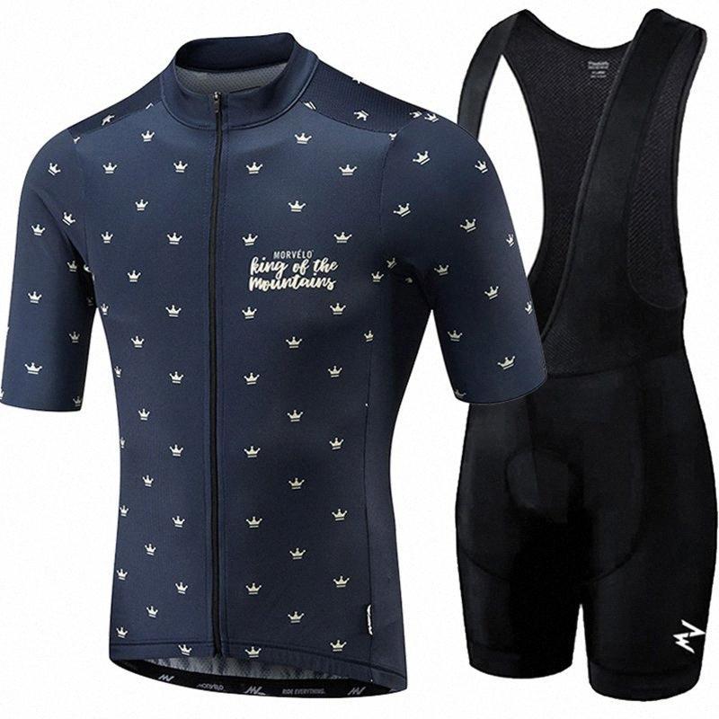 Morvelo verano 2020 Ropa de Hombre Ropa de ciclismo kits de la almohadilla de manga corta MTB transpirable pantalones cortos babero de gel conjunto gdQj #