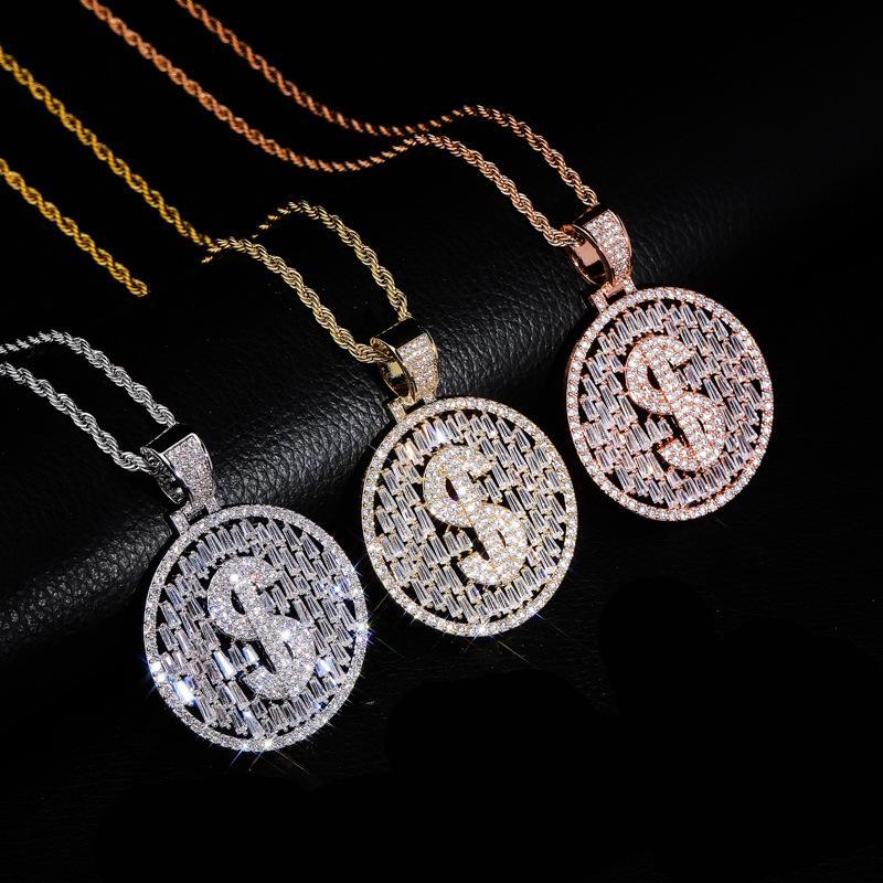 Hip Hop Micro asfaltata zirconi Bling fuori ghiacciato dollari collana ciondoli pendenti per i gioielli regalo di modo degli uomini in oro rosa