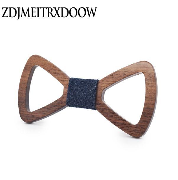 Moda Gravatá de seda Yetişkin Kravatlar Hollow Mens Ahşap Bowties Gravata İş Damat dışarı Ahşap Bow Kravatlar Cadeau Homme