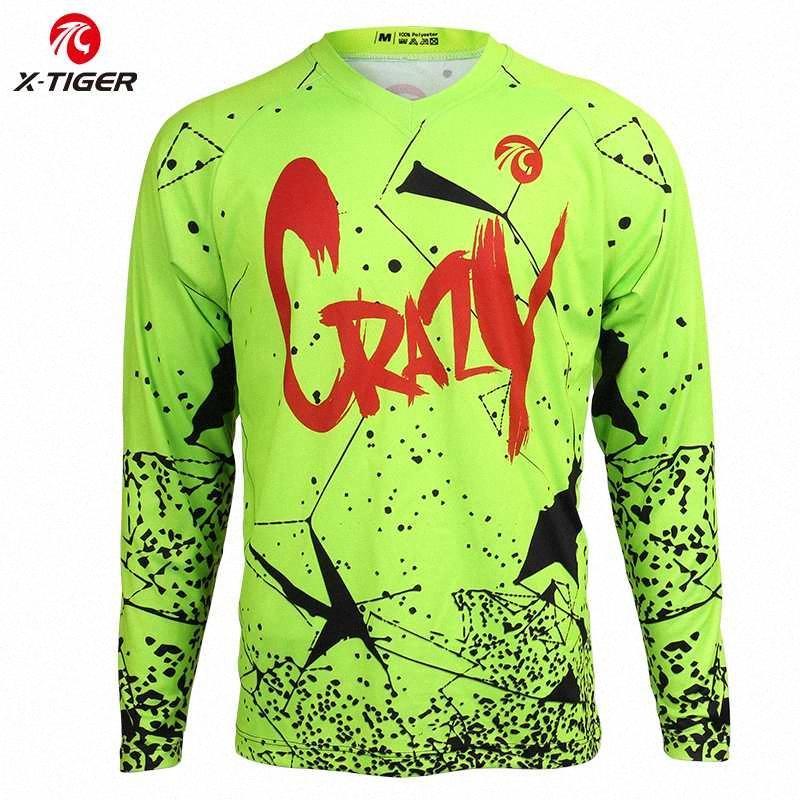 X-Tiger Downhill Jerseys Long Sleeve Downhill Shirt Mountain Bike Cycling Jerseys 100% Polyester DH Shirt Bicycle Racing Wear TgV7#