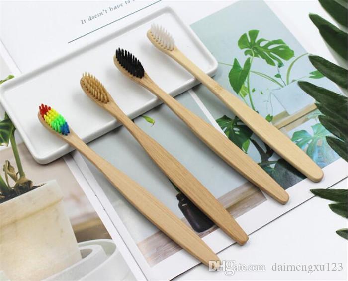 Ahşap Rainbow Diş Fırçası Bambu çevre diş fırçası Bambu Fiber Ahşap Saplı Diş fırçası Beyazlatma Rainbow