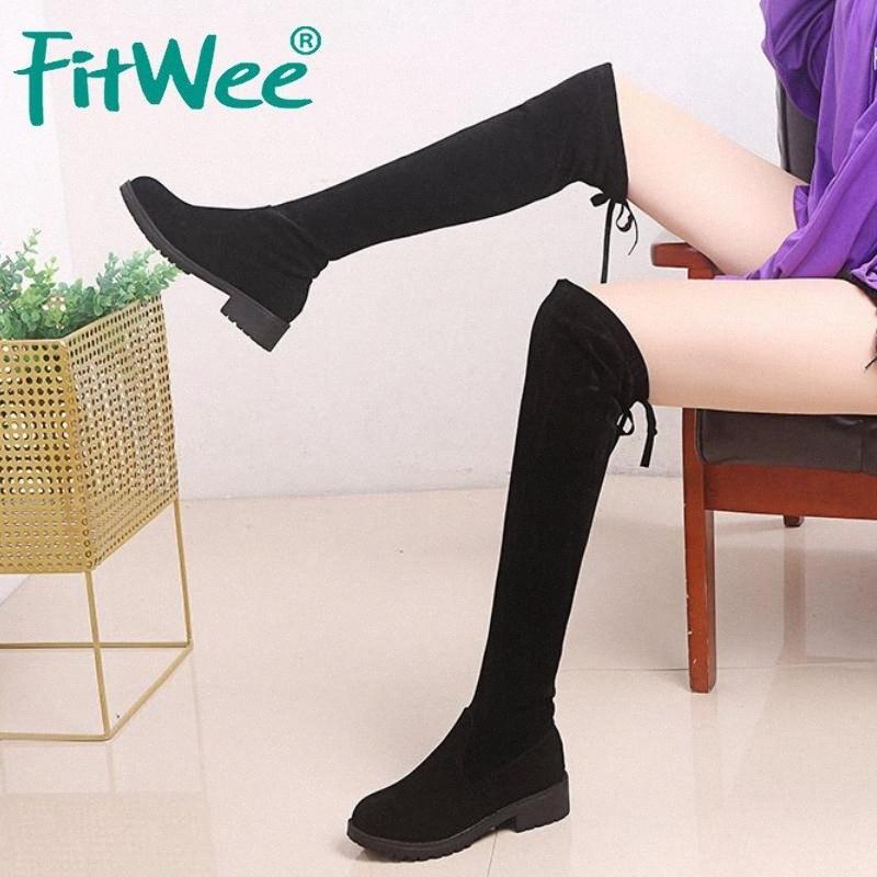 FITWEE 2020 النساء فوق الركبة أحذية شتاء دافئ سليم الفخذ أحذية عالية الصلبة جولة اللون تو المرأة الأحذية حجم 35 40 القتال أحذية R Ek3z #