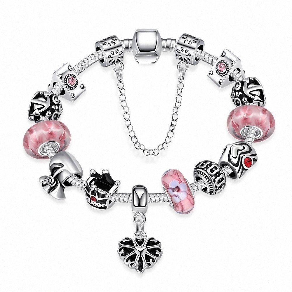 Atacado Moda Ruby Stone encanto Bead pulseiras 925 Sterling Silver Jewelry Rosa Pedra Natural DIY S Braceletes de prata h74I Vintage #