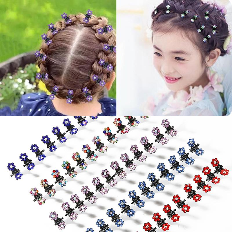 24pcs / пакет Кристалл Rhinestone Цветочный мини Когти клипы Pin Хомуты Девушки Sweet Girl Аксессуары для волос